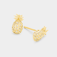 Cubic Zirconia Pineapple Stud Earrings