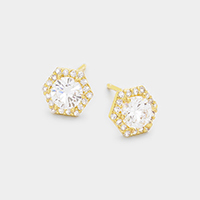 Cubic Zirconia Hexagon Stud Earrings