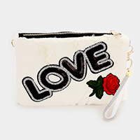 Love Faux Fur Sequin Detail Flower Patch Clutch Bag