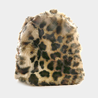 Faux Fur Leopard Backpack Bag