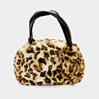 Faux Fur Leopard Tote Bag