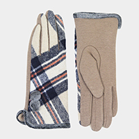 Plaid Pom Pom Smart Gloves