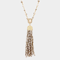 Beaded Drop Faceted Bead Tassel Long Necklace