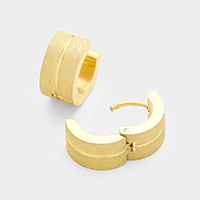 Line Detail Stainless Steel Huggie Earrings