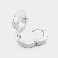 Rectangular Detail Stainless Steel Huggie Earrings