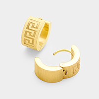 Embossed Metal Huggie Stainless Steel Earrings