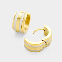 Double Line Detail Metal Huggie Stainless Steel Earrings