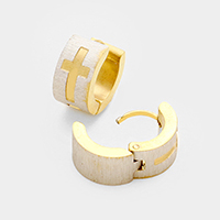 Embossed Cross Huggie Stainless Steel Earrings