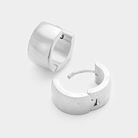 Basic Metal Huggie Stainless Steel Earrings