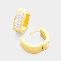 Rhinestone Trim Stainless Steel Huggie Earrings