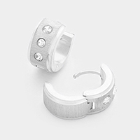 Rhinestone Accented Stainless Steel Huggie Earrings