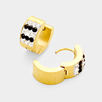 Two Tone Rhinestone Metal Stainless Steel Huggie Earrings