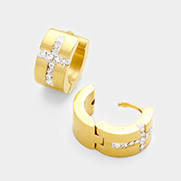 Rhinestone Cross Stainless Steel Huggie Earrings