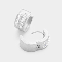 Rhinestone Huggie Stainless Steel Earrings
