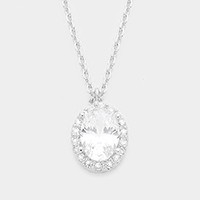 Cubic Zirconia Oval Pendant Necklace