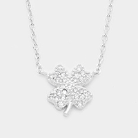 Cubic Zirconia Clover Pendant Necklace