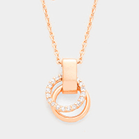Cubic Zirconia Double Hoop Pendant Necklace