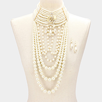 Floral Multi Layered Pearl Armor Bib Necklace