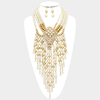 Layered Pearl Long Fringe Statement Necklace