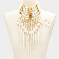 Multi Layered Long Pearl Fringe Armor Necklace