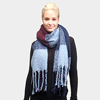 Multi Colored Plaid Oblong Scarf