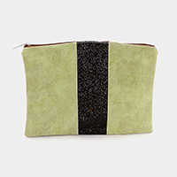 Faux Leather Sequin Clutch Bag