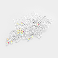 Pave Crystal Rhinestone Flower Hair Comb