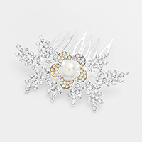Floral Rhinestone Pearl Accented Hair Comb