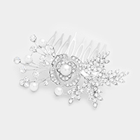 Crystal Rhinestone Flower Pearl Accented Hair Comb