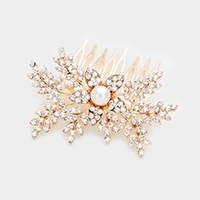 Floral Crystal Rhinestone Pearl Accented Hair Comb
