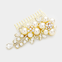 Crystal Rhinestone Pearl Accented Hair Comb