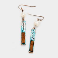 Faith Rectangular Metal Bar Earrings