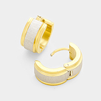 Line Detail Metal Stainless Steel Huggie Earrings