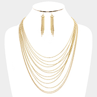 Metal Chain Layered Bib Necklace
