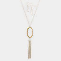 Two Tone Metal Pendant Drop Chain Tassel Necklace