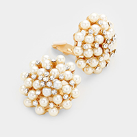 Floral Pearl Clip on Earrings