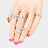 5PCS Mixed Stone Metal Rings
