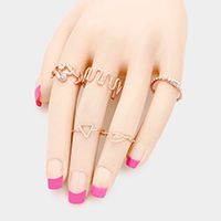 5PCS Mixed Geometric Metal Rings