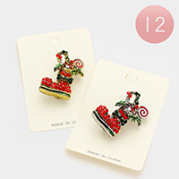 12 PCS Stone Christmas Sock Pin Brooch