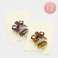 12 PCS Stone Christmas Jingle Bell Pin Brooches
