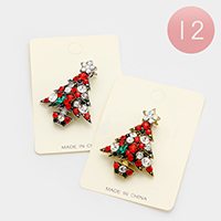 12 PCS Stone Christmas Tree Pin Brooches