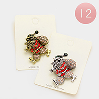 12 PCS Stone Santa Claus Pin Brooches