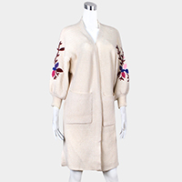 Embroidery Flower Soft Knit Cardigan