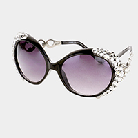 Oversized Crystal Trim Sunglasses