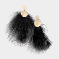 Double Metal Disc Feather Earrings