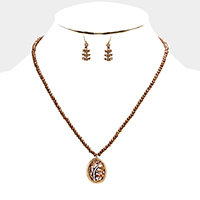 Blessed Beaded Leaf Teardrop Pendant Necklace