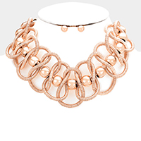 Twisted Cord Metal Ball Collar Bib Necklace