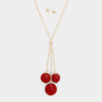 Triple Beaded Ball Long Necklace