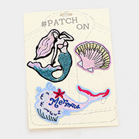 3 PCS Embroidered Sequin Mermaid Mix Patch Set