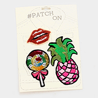 3 PCS Embroidered Sequin Pineapple Lip Lollipop Patch Set